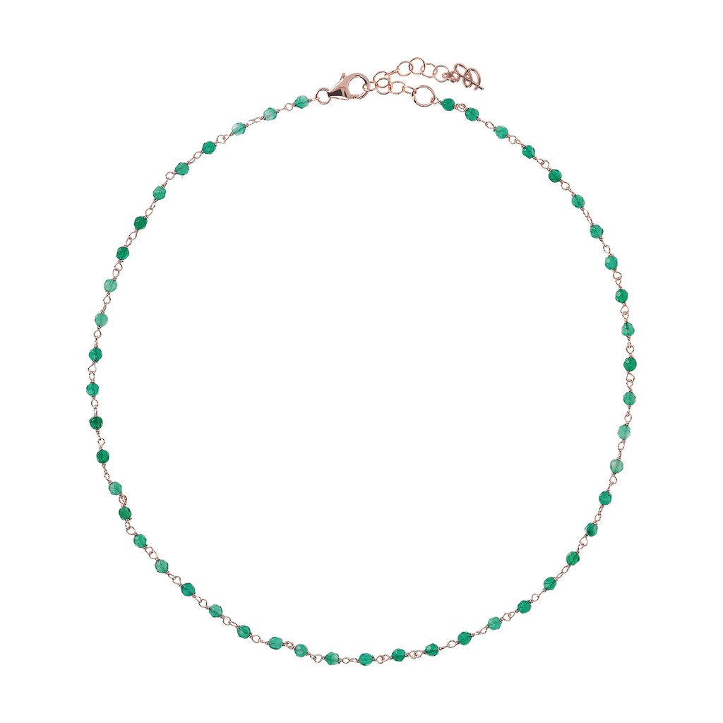 Collier Bronzallure Green-Agate-Amorette-Necklace-GREEN-CHALCEDONY