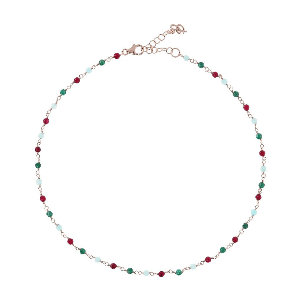 Collier Bronzallure Rose-Quartzite-Amorette-Necklace-MULTICOLOR-QUARTZITE
