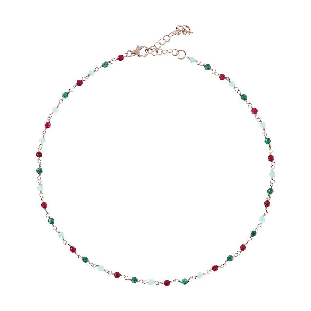 Collier Bronzallure Rose-Quartzite-Amorette-Necklace-MULTICOLOR-QUARTZITE